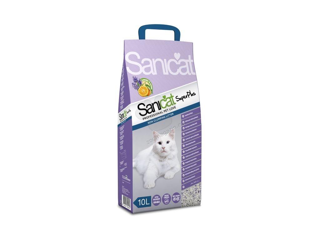 Sanicat Superplus - високоефективна котешка тоалетна с двоен аромат на лавандула и портокал, 10 литра