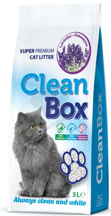 Clean Box Super Premium - постелка за котешка тоалетна от бял бентонит /лавандула / 5 кг.