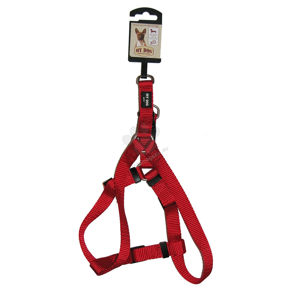 My Dog - нагръдник със широчина 15 мм., за кучета с обиколка на гърдите 30 - 50 см. / червен /