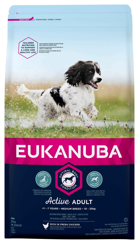 Eukanuba Adult Chicken Medium Breed - за кучета средни породи 10-25 кг., и възраст над 12 месеца  3 кг.