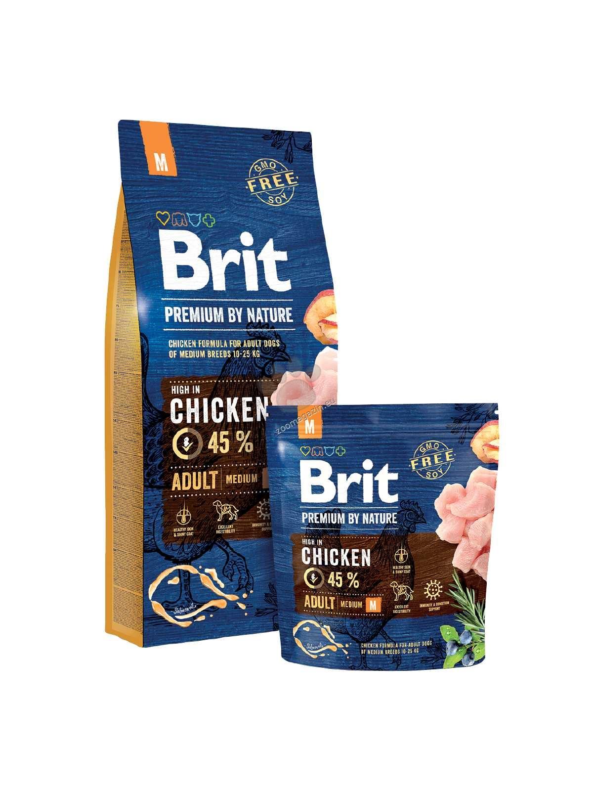 Brit Premium by Nature Adult M - пълноценна храна за кучета средни породи / 10-25 кг. / и / възраст 1- 8 години / 8 кг.