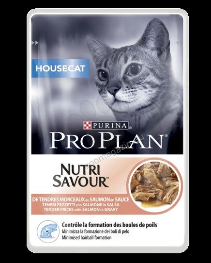 Pro Plan Nutri Savuor Housecat - / със сьомга в сос / за котки в зряла възраст които живеят на закрито 85 грама