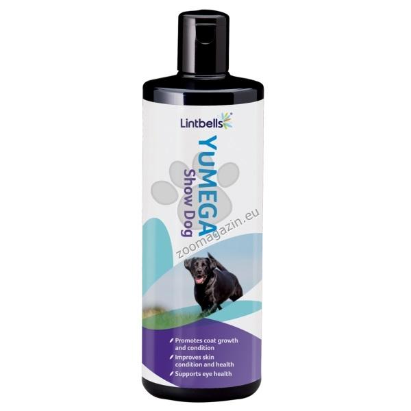 Lintbells - YuMEGA SHOWDOG – комбинация от есенциални масла, лецитин и лутеин за здрава кожа и козина и подобряване на зрението (за кучета) 500 мл.
