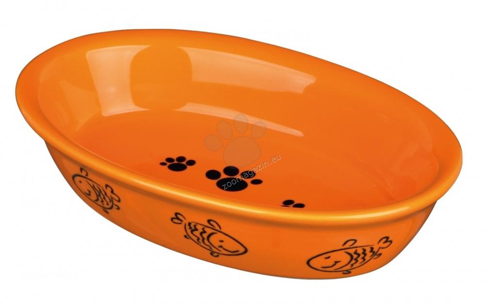 Trixie Ceramic Bowl - овална керамична купичка / оранжева, синя, бяла, червена / 200 мл.