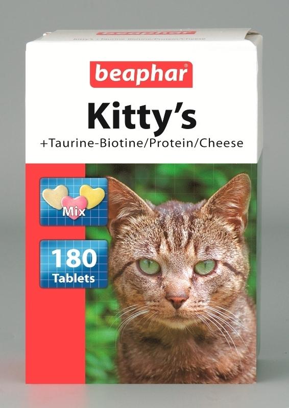 Beaphar Kittys Taurine Biotine Protein Cheese - витаминно лакомство с таурин, биотин, протеини и сирене 180 таблетки