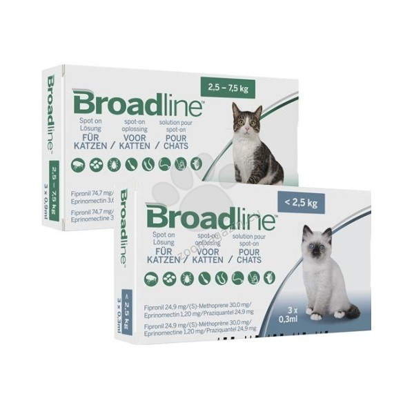 Broadline - широкоспектърна защита срещу вътрешни и външни паразити при котки с тегло до 2.5 кг. / 3 броя пипети /