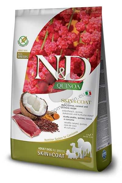 N&D Quinoa Skin & Coat Duck, Coconut – пълноценна храна с киноа за кучета в зряла възраст над 1г. за всички породи при чувствителен стомах, здрава кожа и козина с патешко, кокос и куркума 2.5 кг.