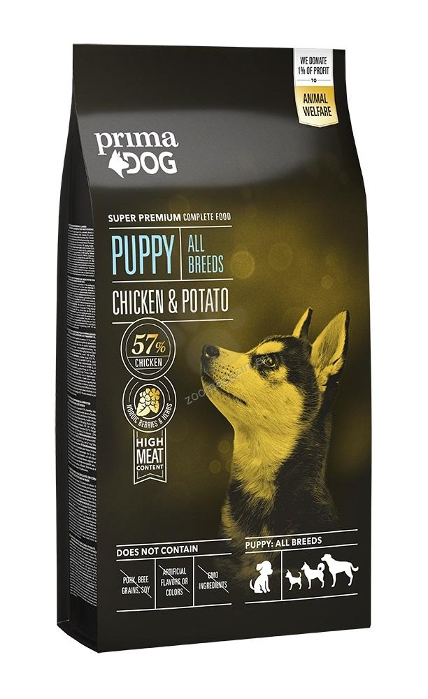 Prima Dog Puppy All Breeds Chicken & Potato - пълноценна храна за подрастващи кучета, подходяща за всички породи 4 кг.
