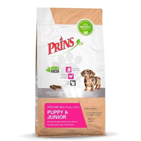 Prins ProCare Mini Puppy & Junior Perfect Start - препоръчва се за кученца и млади кучета от дребните породи 15 кг.