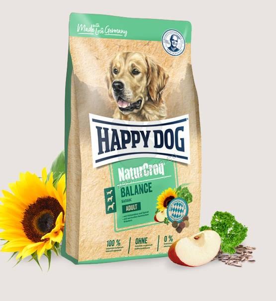 Happy Dog NaturCroq Balance - пълноценна храна с пилешко, риба, черен дроб, говеждо, сирене, ориз, овес, пшеница, спанак, за кучета над 12 месеца, подходяща за всички породи 15 кг.