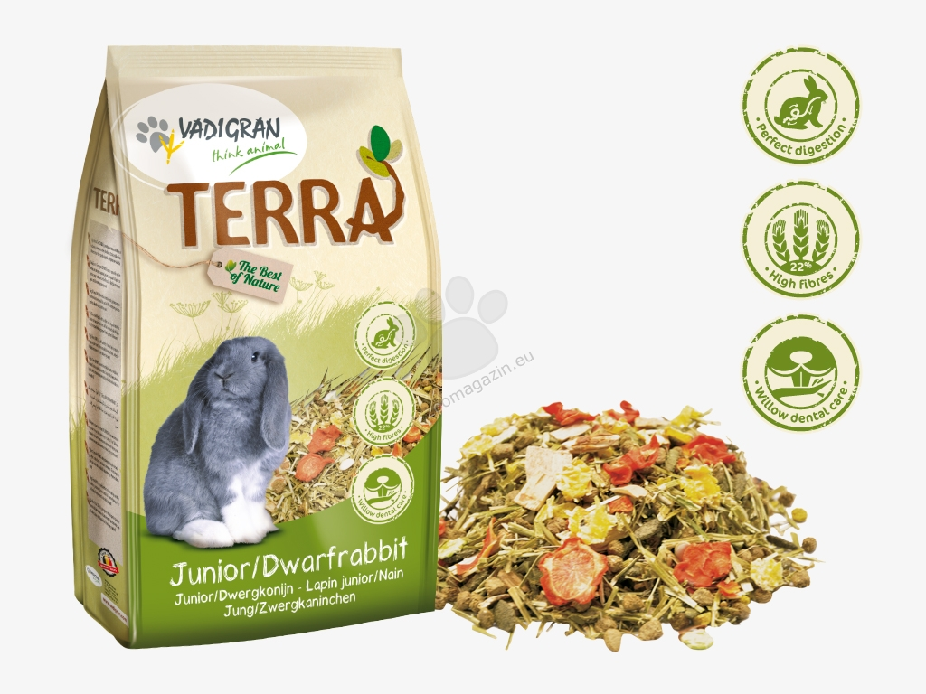 Vadigran - Terra Junior Dwarf Rabbit Super Premium - пълноценна храна за малки зайчета и зайчета джуджета 1 кг.