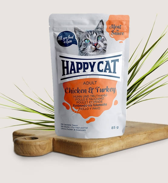 Happy Cat Meat in Sauce Adult Chicken & Turkey - с пилешко и пуешко месо 85 гр.