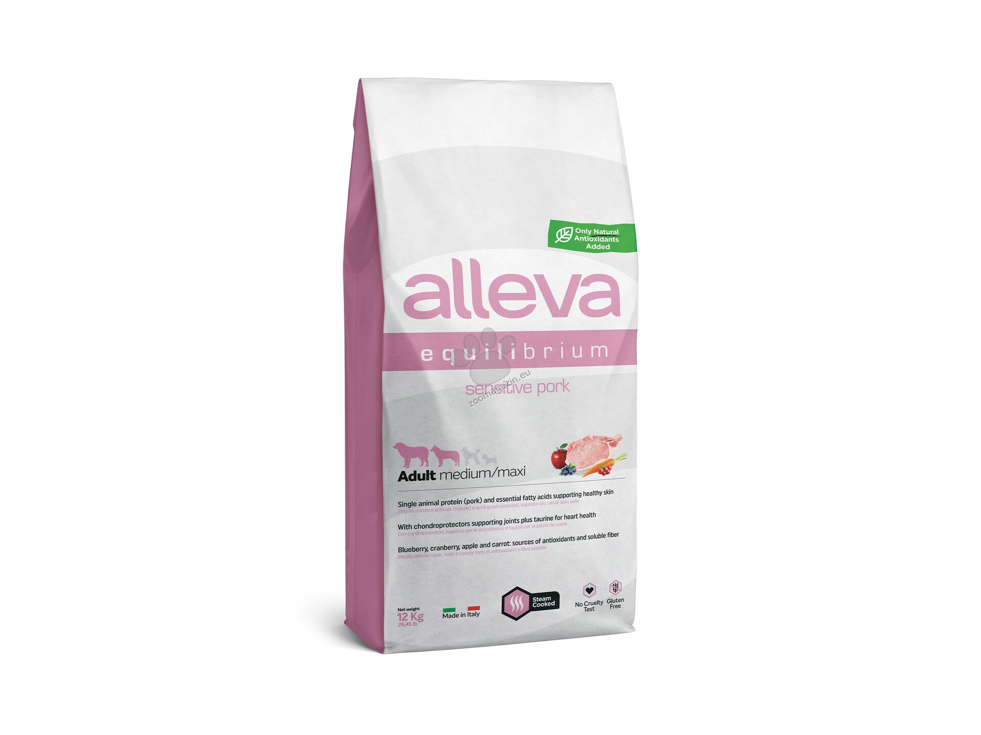 Alleva Equilibrium Sensitive Pork Adult Medium/Maxi - със свинско, за кучета средни /10-25 кг. / и големи / над 25 кг. / породи и възраст над 12 месеца 12 кг.
