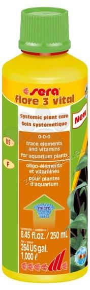 Sera - Flore 3 Vital - подсилваща течна добавка за аквариумни растения 250 мл.