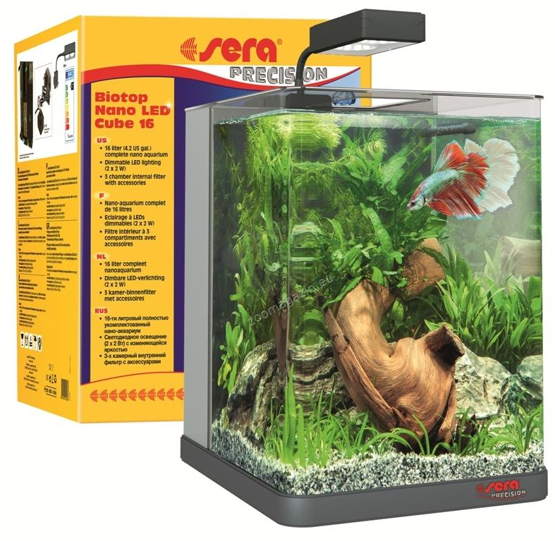 Sera - Biotop Nano LED Cube - аквариум с пълно оборудване 16 литра 25 / 22 / 30 см.