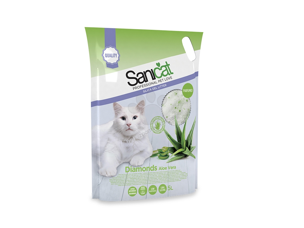 Sanicat Diamonds Aloe Vera - силиконова котешка тоалетна с аромат на алое вера, 5 литра /2.4 кг/