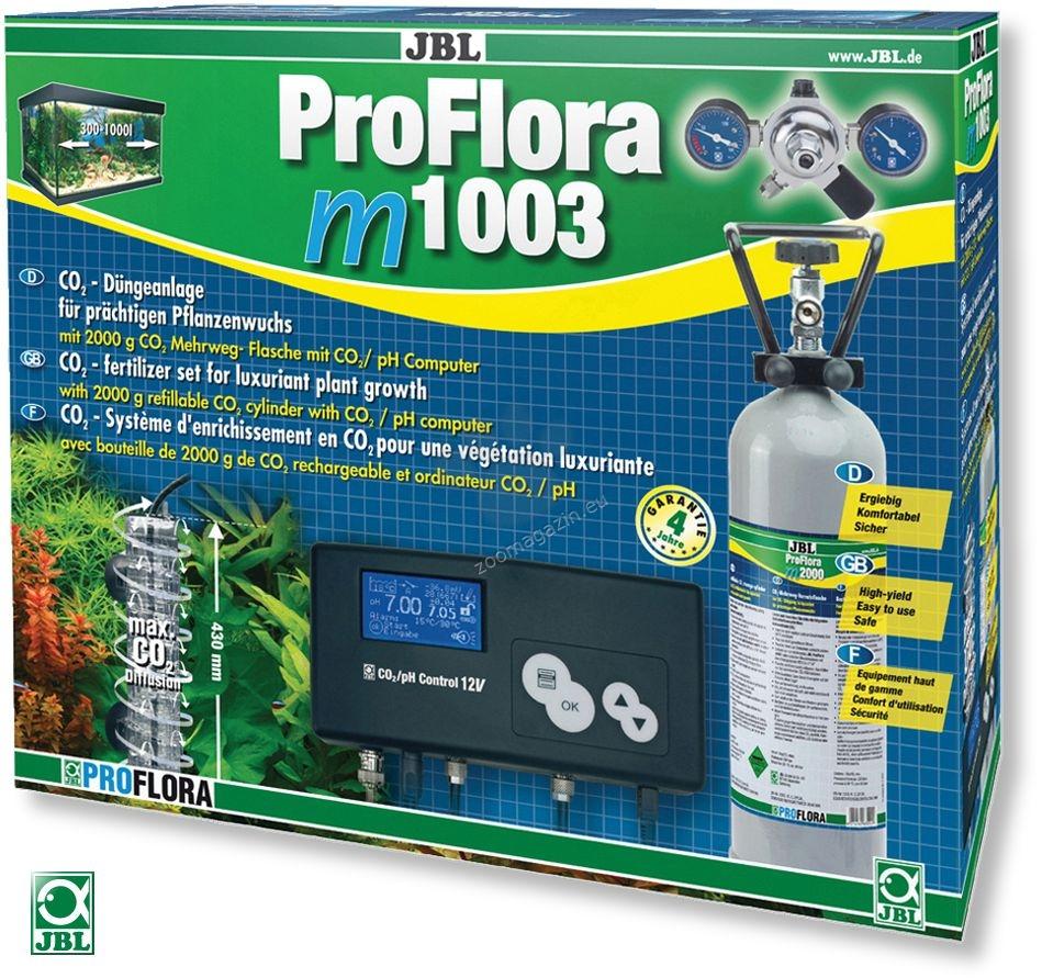 JBL ProFlora m1003 - професионална система за въглероден двуокис с бутилка 2000 грама, за многократна употреба и pH контролер, за аквариуми до 1000 литра