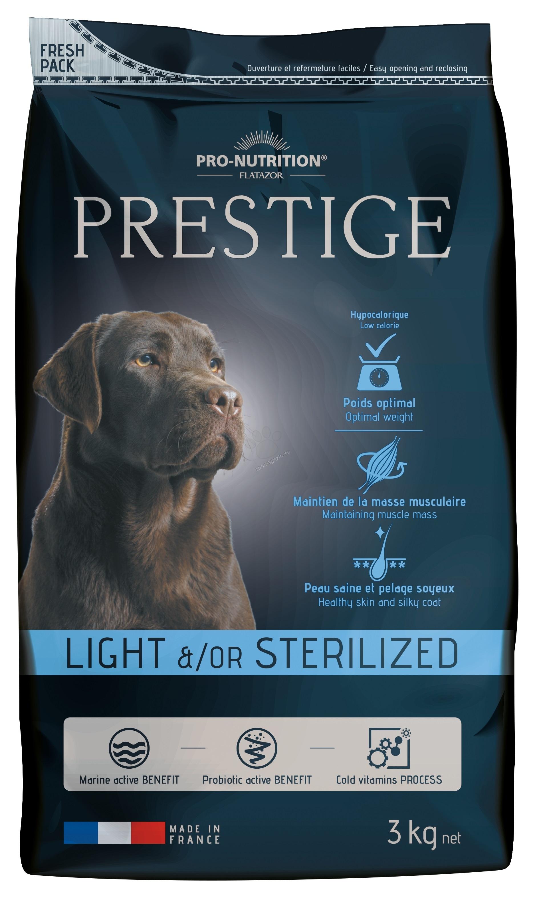 Flatazor Prestige Adult Light / Sterilized - пълноценна храна за кучета средни и големи породи със склонност към напълняване или кастрирани 15 кг. + 3 кг. ГРАТИС