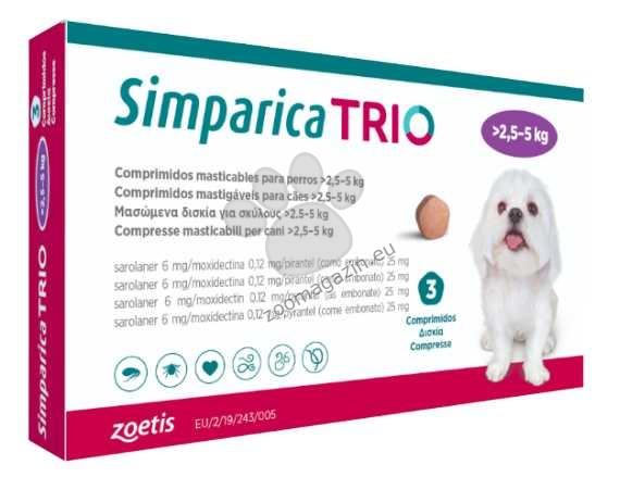 Simparica Trio - таблетка за дъвчене, за кучета с тегло от 2.6 до 5 кг. / кутия 3 броя /