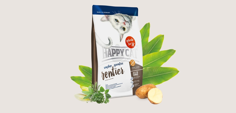 Happy Cat Sensitive Grain Free Rentier - деликатесна храна с месо от северен елен, за котки над 12 месеца 300 грама