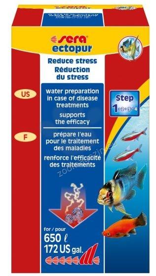 Sera - Ectopur - грижа за водата по време на третиране срещу ектопаразити и гъбички в сладководни аквариуми и езера 130 гр.