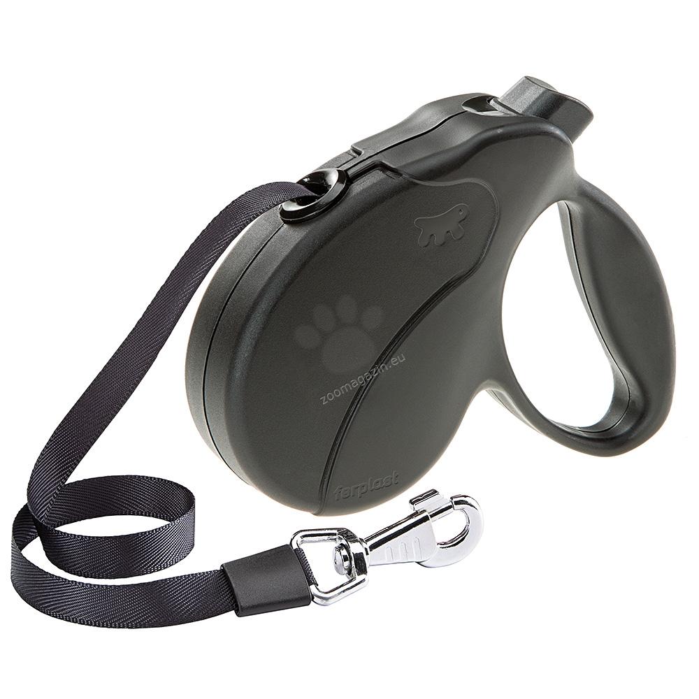 Ferplast - Amigo Easy Tape Large - автоматичен повод 5 метра, за кучета до 50 кг. / лента / / син, червен, черен /