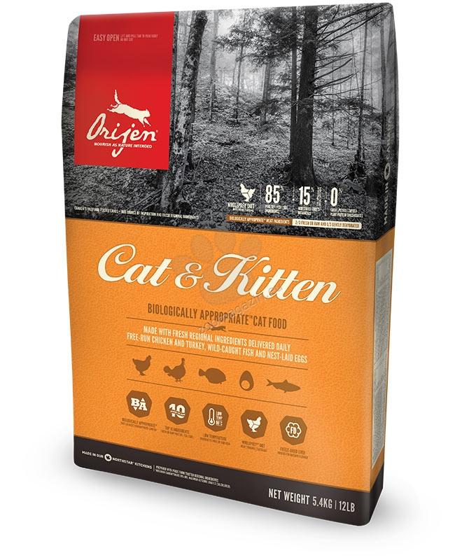 Orijen Cat & Kitten New  Formula - пълноценна храна както за малки котенца, така и за котки в зряла възраст 5.4 кг.