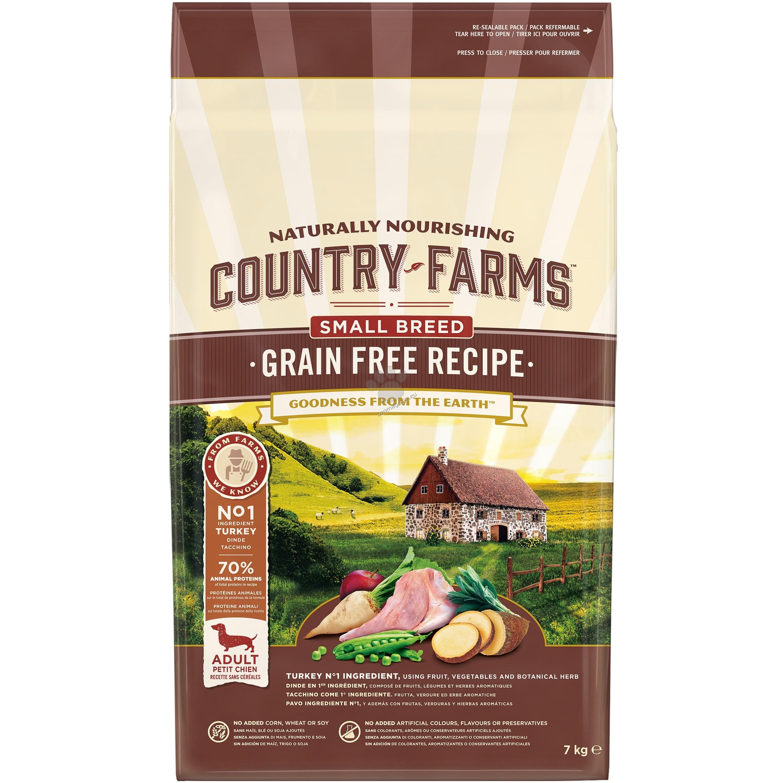 Country Farms Grain Free Small & Mini Turkey - пълноценна храна за кучета малки породи над 12 месечна възраст 7 кг.