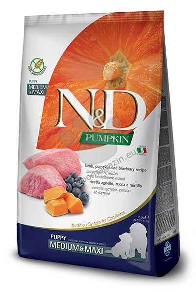 N&D Pumpkin Lamb & Blueberry Medium / Maxi Puppy - пълноценна храна с тиква за подрастващи кучета от средните и едри породи с агне и боровинки 12 кг.