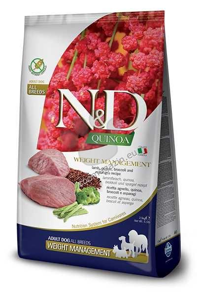 N&D Quinoa Weight Management Lamb, Broccoli – пълноценна храна с киноа за кучета в зряла възраст над 1г. за всички породи за контрол на теглото с агнешко и броколи 2.5 кг.