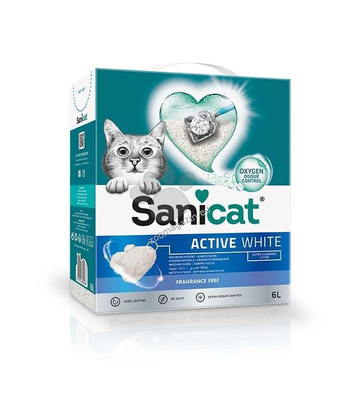 Sanicat Active White Natural - котешка тоалетна висококачествен бял бентонит / натурална / 6 литра