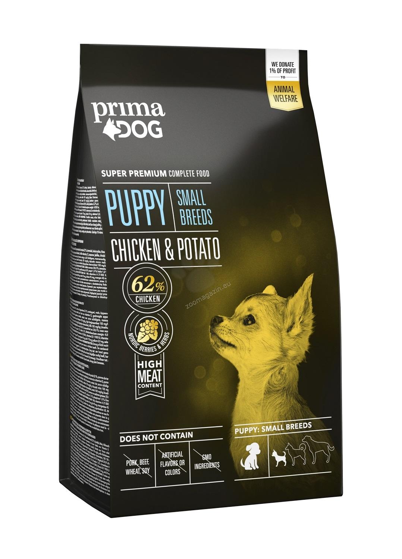 Prima Dog Puppy Small Breeds Chicken & Potato - пълноценна храна с пилешко и картофи за малки кучета / 1-10 кг. /, до 12 месеца 2 кг.