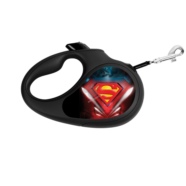 Waudog Superman Logo L - автоматичен дизайнерски повод 5 метра, за кучета до 50 кг.