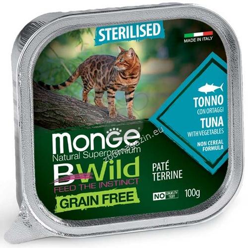 Monge BWILD Grain Free Sterilised с риба тон и зеленчуци – пастет терин без зърнени храни – за кастрирани котки в зряла възраст 100 гр.