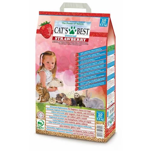 Cats Best Universal Strawberry - натурална постелка с аромат на ягоди, за котки и малки животни 10 литра