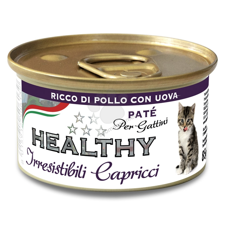 Healty Irresistibili Capricci Pate Rich Chicken with Eggs Kitten - с пилешко месо и яйце, за малки котенца 85 гр.