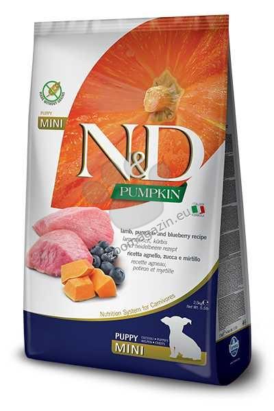 N&D Pumpkin Lamb & Blueberry Mini Puppy – пълноценна храна с тиква за подрастващи кучета от дребните породи с агне и боровинки 2.5 кг.
