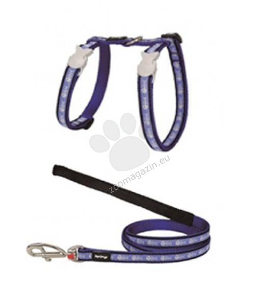Red Dingo Cat Harness & Lead Fish Bone Blue - повод с нагръдник, за котка с обиколка на врата 21-35 см. и обиколка на тялото 27-48 см.