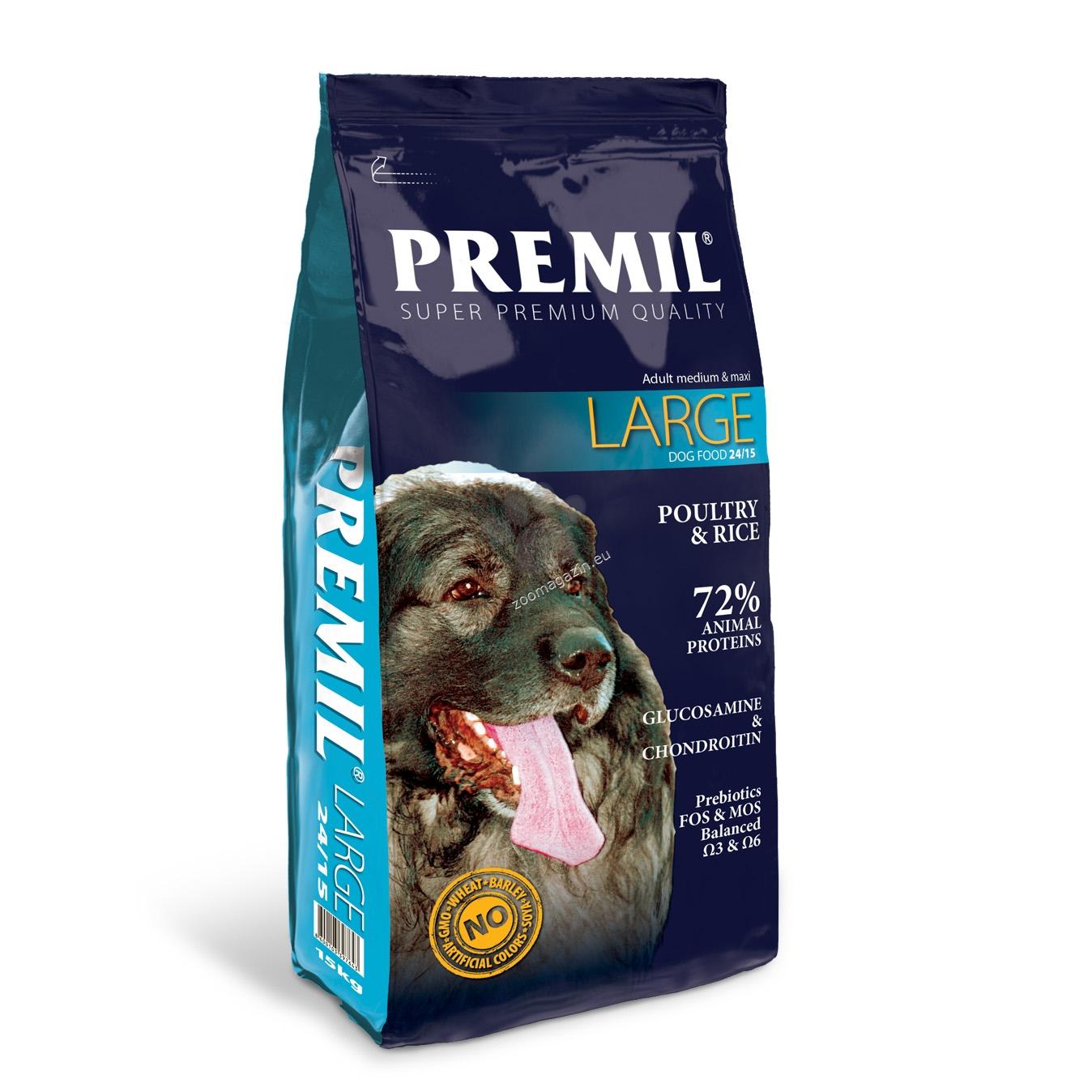 Premil - Adult Large 24/15 - пълноценна храна с пилешко и патешко месо, за кучета големи и гигантски породи над 18 месеца 15 кг.