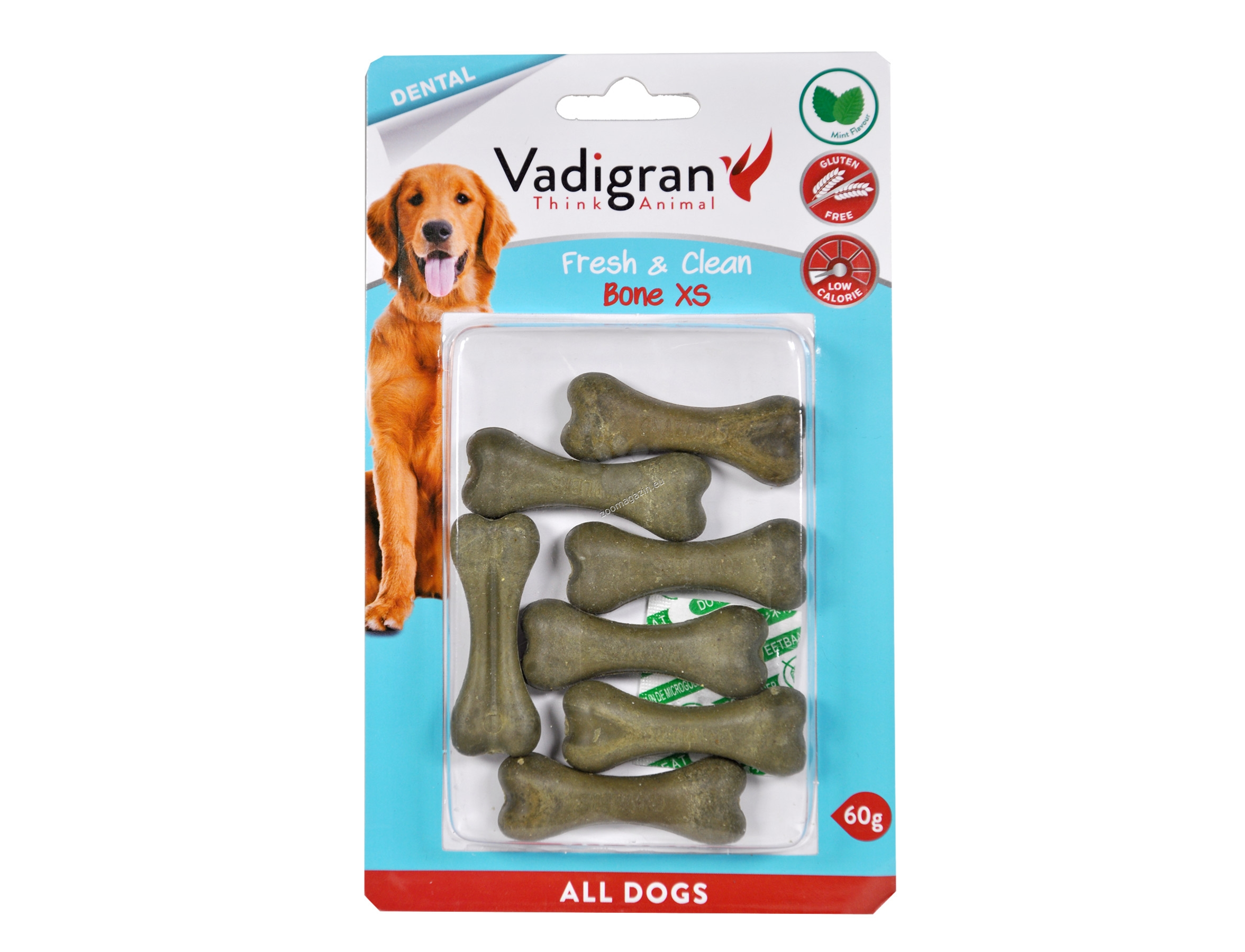 Vadigran - Pressed Chewbone Fresh&Clean - кокалче за здрави зъби, висока устна хигиена и свеж дъх 60 гр. / 5.5 см.