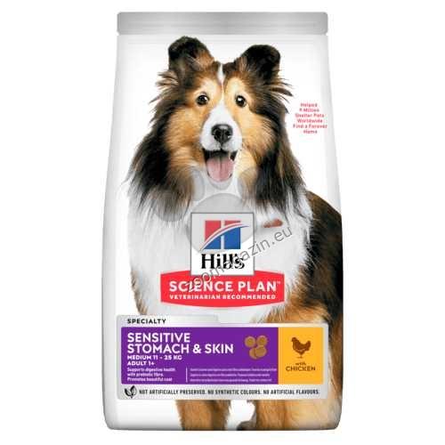 Hills - Science Plan Adult Sensitive Stomach & Skin – пълноценна суха храна за кучета над 1 година с чувствителен стомах и чувствителна кожа 14 кг.  + ПОДАРЪК: 2бр. лакомства Healthy Mobility