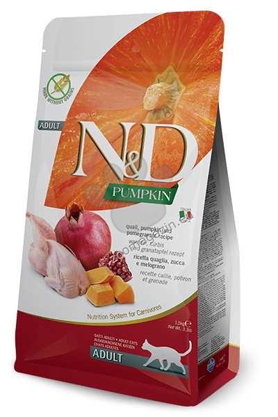 N&D Pumpkin Qual & Pomegranate Adult – пълноценна храна с тиква за котки над една година, с пъдпъдък и нар 1.5 кг. + ПОДАРЪК: 3 броя консерва N&D Cat