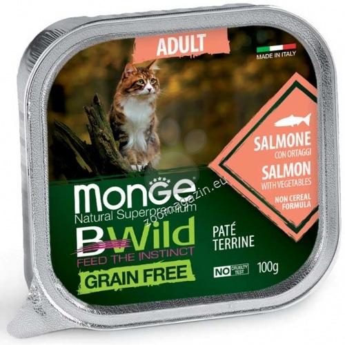 Monge BWILD Grain Free Adult със сьомга и зеленчуци – пастет терин без зърнени храни – за котки в зряла възраст 100 гр.