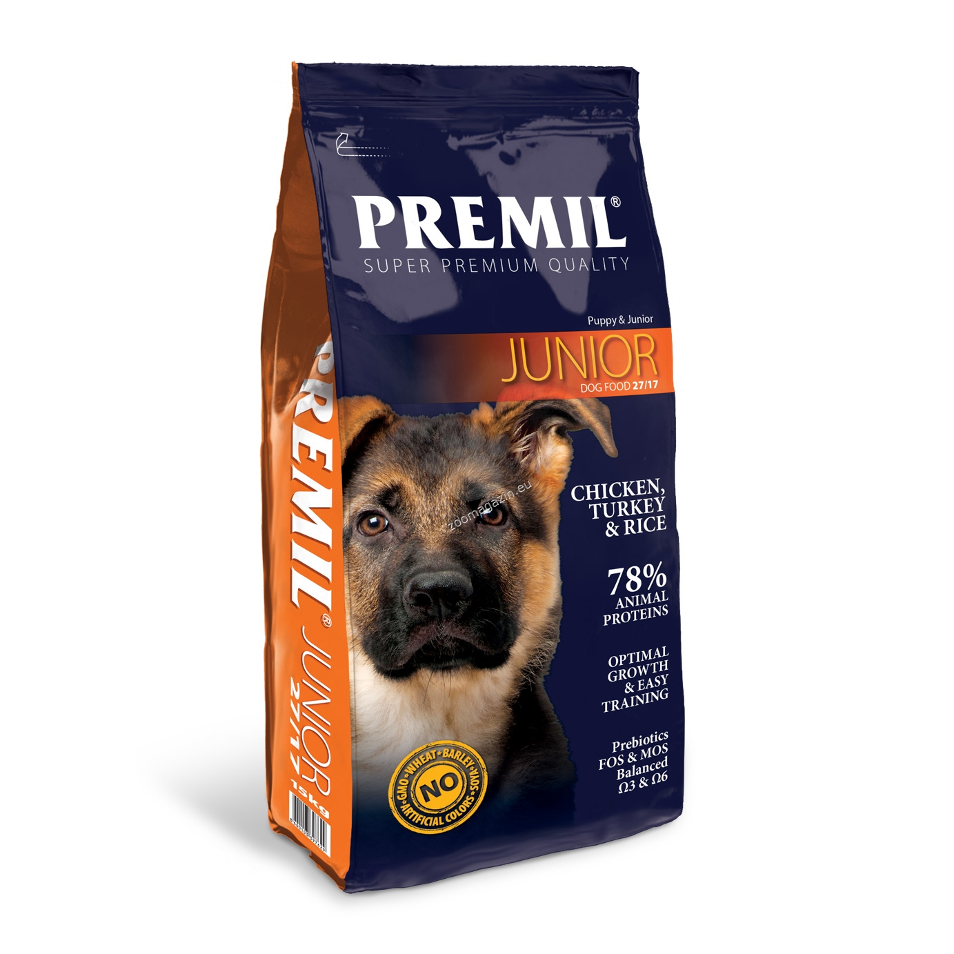 Premil - Junior - пълноценна храна с пилешко и патешко месо, за кучета големи и гигантски породи на възраст от 2 до 18 месеца 15 кг.