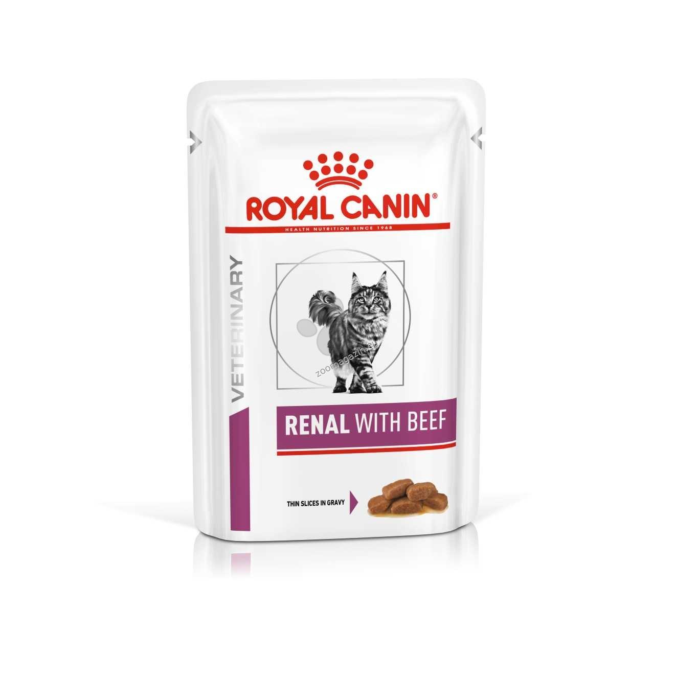 Royal Canin Renal Cat Beef  - лечебна храна за котки, формулирана в подкрепа на бъбречната функция в случай на хронична или временна бъбречна недостатъчност, чрез ограниченото си ниво на фосфор и висококачествените протеини 85 гр.