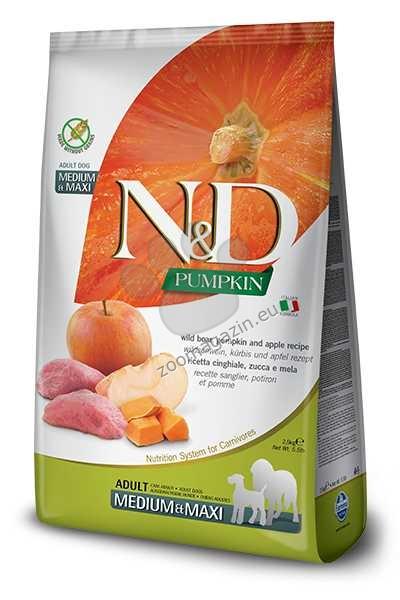 N&D Pumpkin Boar & Apple Medium / Maxi Adult - пълноценна храна с тиква за кучета в зряла възраст една година, от средните и едри породи с месо от глиган и ябълка 2.5 кг.