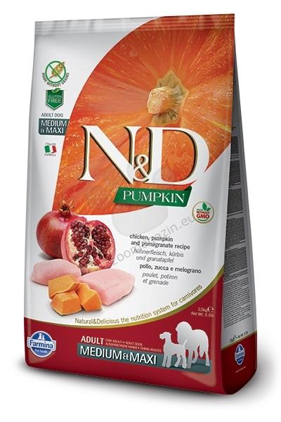 N&D Pumpkin Chicken & Pomegrante Medium / Maxi Adult - пълноценна храна с тиква за кучета в зряла възраст над една година, от средните и едри породи с пиле и нар 12 кг.