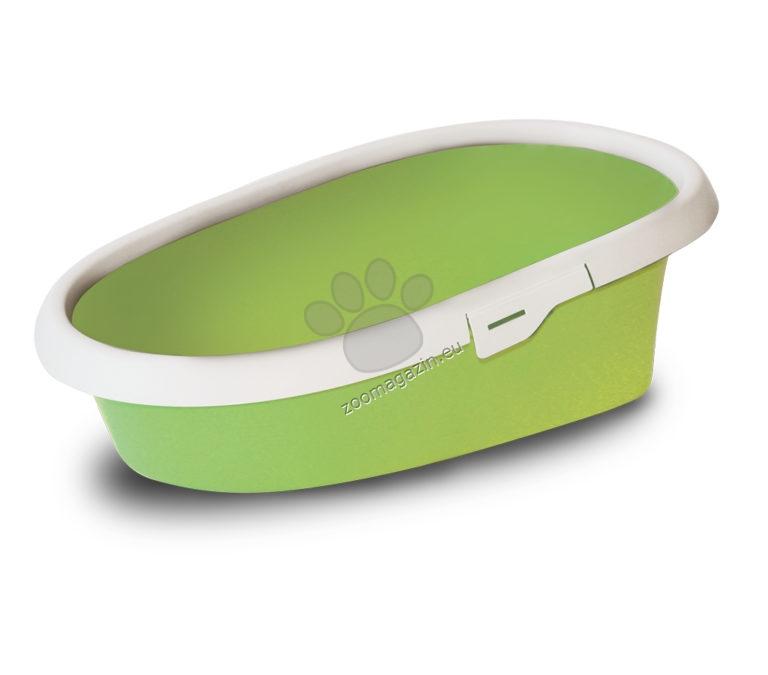 M.P.Bergamo Minou - котешка тоалетна с борд / синя, розова, зелена / 58 / 39 / 18 см.