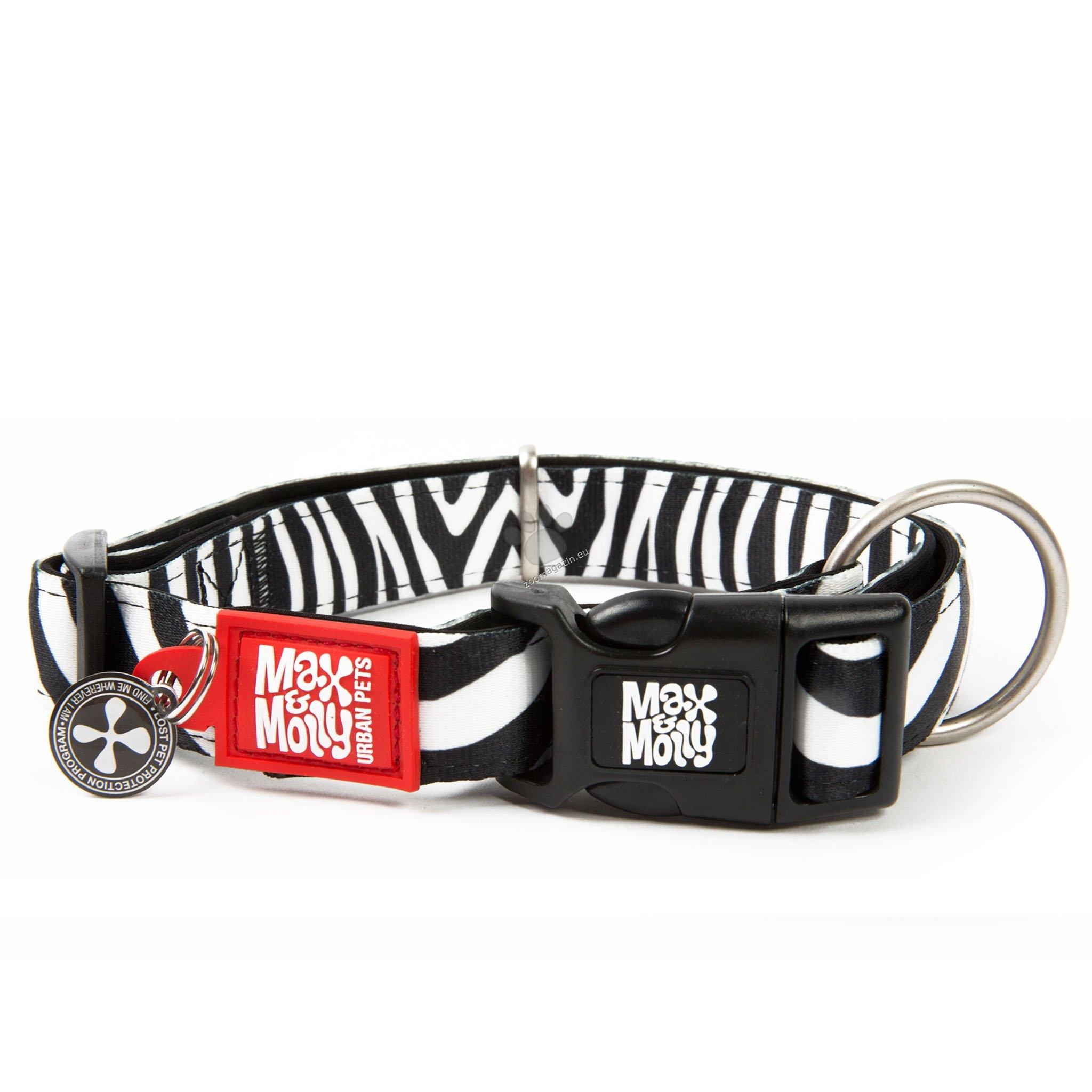 Max Molly Smart ID Zebra М - нашийник с ID чип за сигурност 34 - 55 см. / 20 мм.