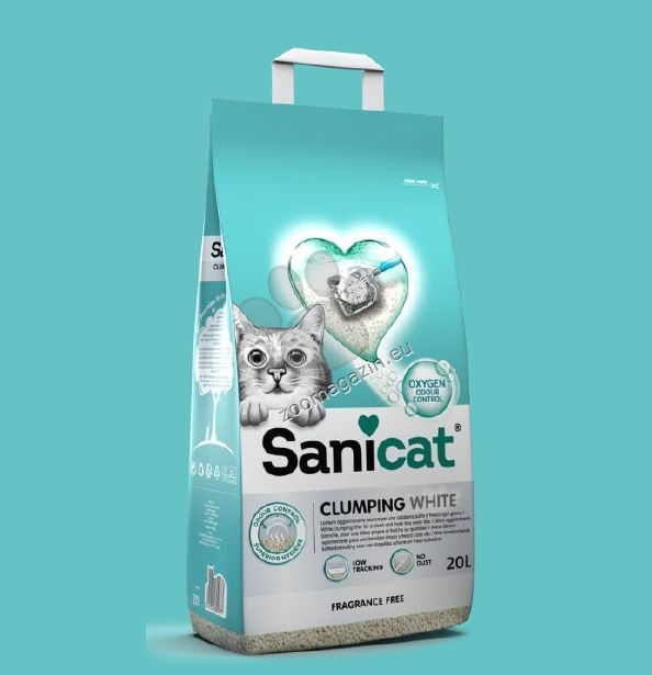Sanicat Clumping White - чист и свеж бял натурален бентонит, обогатен с кислород 20 литра